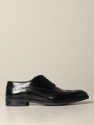 Emporio Armani Derby In Brushed Leather With Brogue Motif