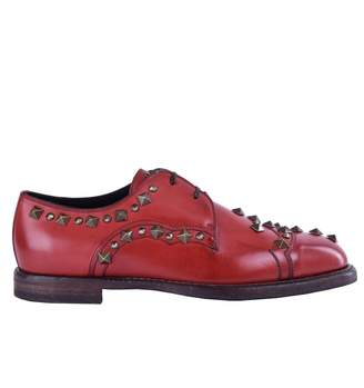 Dolce & Gabbana Red Leather Lace ups