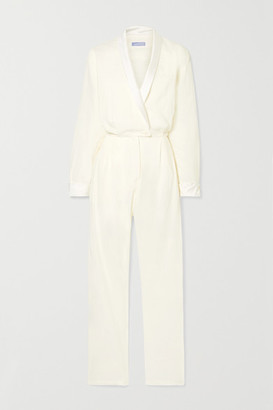 Paradised - Jane Wrap-effect Silk Satin-trimmed Cotton-blend Voile Jumpsuit - Ivory