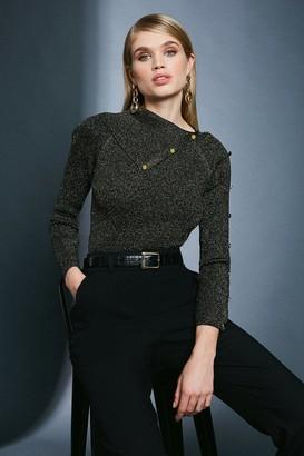 Karen Millen Sparkle Knit Rib Button Envelope Neck Jumper