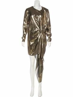 Saint Laurent 2017 Draped Dress Gold