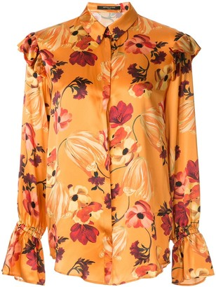 Mother of Pearl Floral Print Ruffle Detail Blouse
