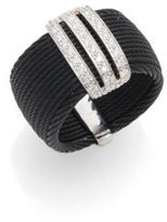 Alor Diamond, Black Stainless Steel & 18K White Gold Ring