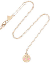 Alison Lou Small Bashful Enameled 14-karat Gold Necklace - one size