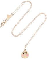 Alison Lou Small Bashful Enameled 14-karat Gold Necklace