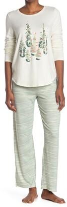 Hue Winterland Stripe Cozy Long Sleeve Top & Pants 2-Piece Pajama Set