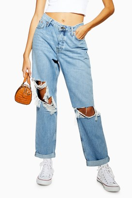 Topshop Womens Super Ripped Bleach Hayden Boyfriend Jeans - Bleach Stone