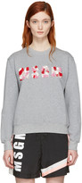 MSGM Grey Embroidered Logo Pullover