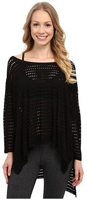 Hard Tail Oversized 3/4 Sleeve Raglan Tee (Black) Women's Blouse