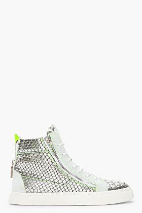 Giuseppe Zanotti Metallic Silver Scaled London Sneakers