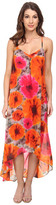 Maggy London Smudge Daisy Printed Chiffon Hi Low Maxi