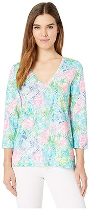 Lilly Pulitzer Etta 3/4 Sleeve Top (Multi Bohemian Queen Small) Women's Clothing