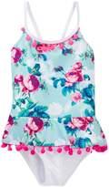 Betsey Johnson Rose Print Ruffle Pompom Trimmed One-Piece Swimsuit (Little Girls)