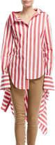 Monse Candy-Stripe Blouse w/Back Peplum