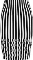 Opening Ceremony Striped merino wool-blend pencil skirt