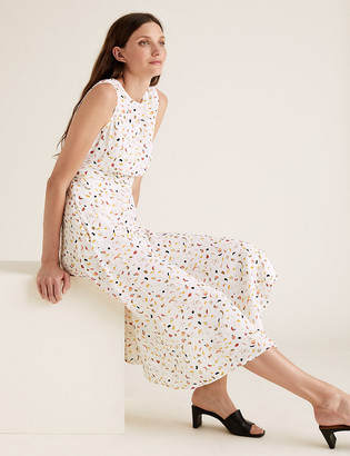 Marks and Spencer Brush Print Open Back Midi Fit & Flare Dress