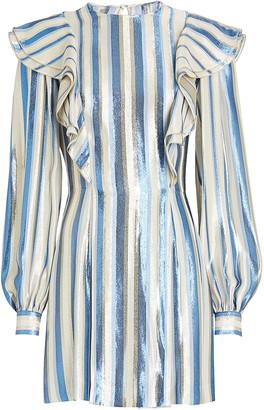 Alberta Ferretti Ruffled Lurex Stripe Mini Dress