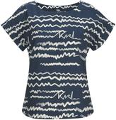 Karl Lagerfeld Women's Jacquard Scribble Top Blue