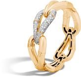 John Hardy Women's Bamboo 21.5MM Hinged Bangle in 18K Gold with Diamonds