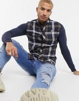 SikSilk flannel check grandad shirt