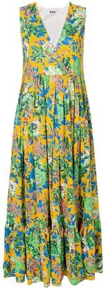 MSGM Frill Hem Floral Dress