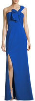 Aidan Mattox One-Shoulder Bow Crepe Evening Gown