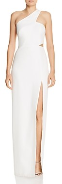 Aidan Mattox One-Shoulder Crepe Cutout Gown - 100% Exclusive