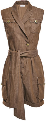 Brunello Cucinelli Belted Wrap-effect Bead-embellished Denim Playsuit