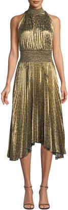 A.L.C. Renzo High-Neck Pleated Midi Dress