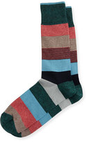 Neiman Marcus Wide Mixed-Stripe Jaspe Socks