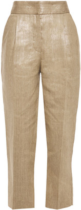Brunello Cucinelli Cropped Coated Pleated Linen Tapered Pants