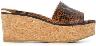 Jimmy Choo Deedee 80mm snake-effect wedge sandals