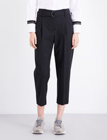 Brunello Cucinelli High-waisted stretch-wool trousers