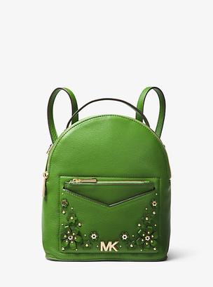 MICHAEL Michael Kors MK Jessa Small Floral Embellished Pebbled Leather Convertible Backpack - True Green - Michael Kors