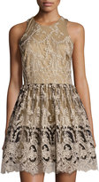 Romeo & Juliet Couture Lace Fit-and-Flare Racerback Dress, Black/Beige