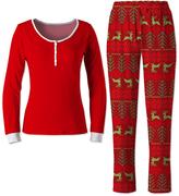 Red & Gray Elk Fair Isle Pajama Set - Women & Plus