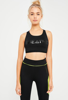 Missguided Active Black Cross Back Graphic Sports Bra