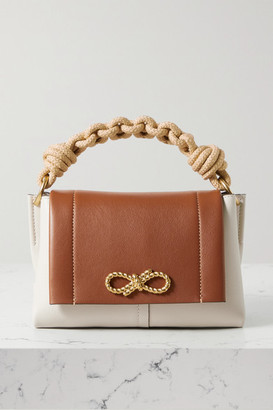 Anya Hindmarch Bow Rope-trimmed Two-tone Leather Shoulder Bag - Ecru