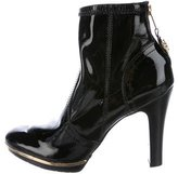 Tory Burch Patent Leather Logo-Accented Ankle Boots