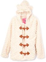 Light Mocha Faux-Fur Hooded Coat - Girls
