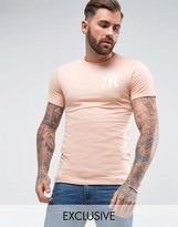 Majestic Longline Yankees T-Shirt In Muscle Fit Exclusive to ASOS