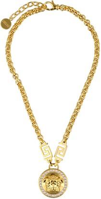 Versace Medusa Head Crystal Embellished Chain Necklace