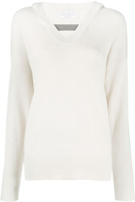 Brunello Cucinelli Ribbed-Knit Hooded Cashmere Jumper