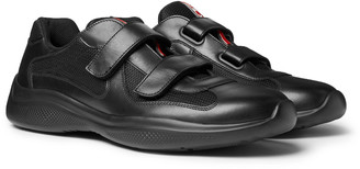 Prada Americas Cup Leather And Mesh Sneakers