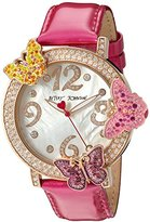 Betsey Johnson Women's Quartz Metal and Leather Watch, Color:Pink (Model: BJ00584-03)