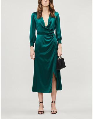 Reformation Chantelle wrap-over puffed-sleeve silk mini dress