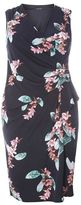 Evans Navy Blue Hourglass Fit Floral Dress