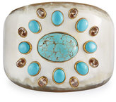 Ashley Pittman Bendi Turquoise & Orange Zircon Tapered Cuff