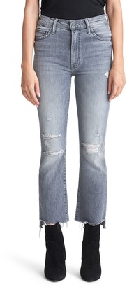 Mother Insider Distressed High Waist Crop Step Hem Jeans