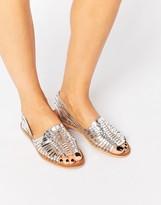 Warehouse Metallic Huarache Plaited Sandal